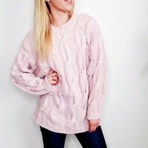 80-90s Vintage Dusty Pink Oversized Knit Sweater
